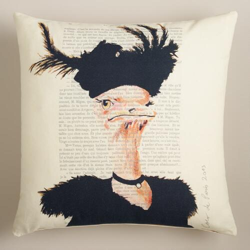 Ostrich Bonjour Paris Throw Pillow