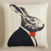 Rabbit Bonjour Paris Throw Pillow