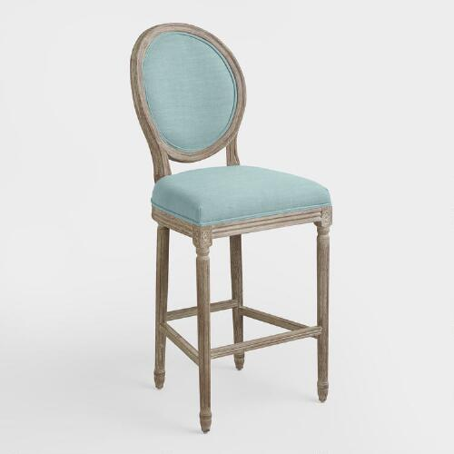 Blue Linen Paige Barstool