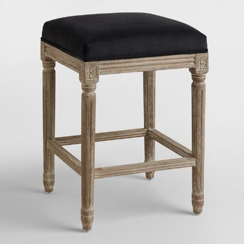 Black Paige Backless Counter Stool