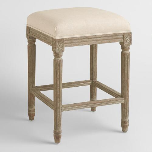 Natural Linen Paige Backless Counter Stool