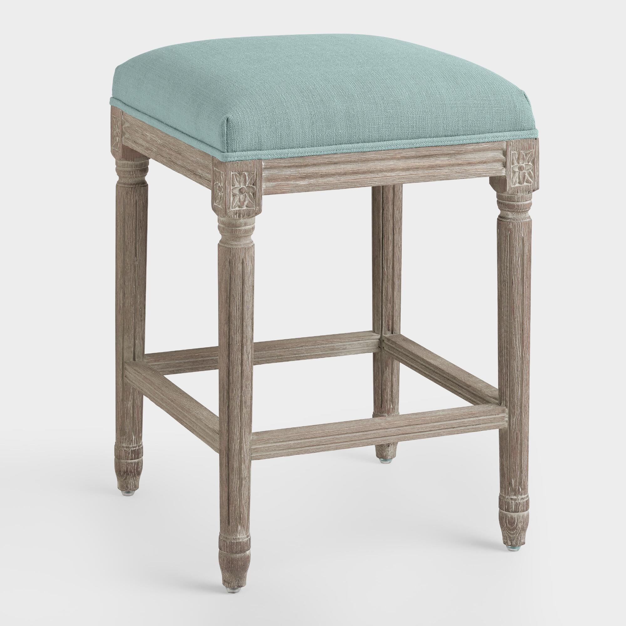 Backless Bar Stools ~ Blue linen paige backless counter stool world market