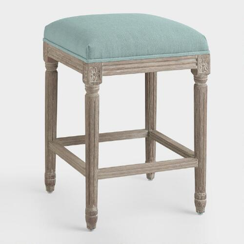 Blue Linen Paige Backless Counter Stool