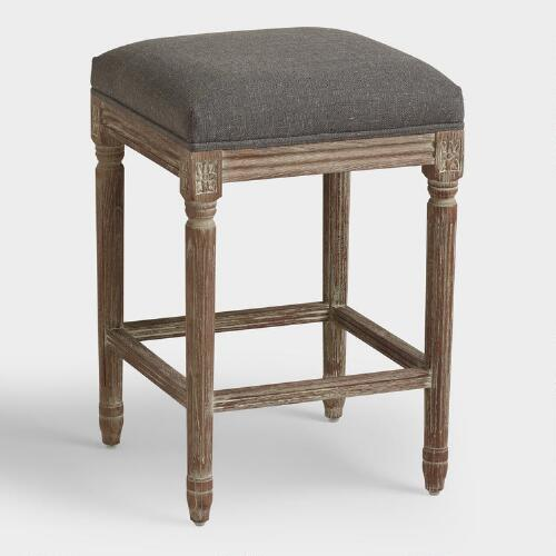 Charcoal Linen Paige Backless Counter Stool