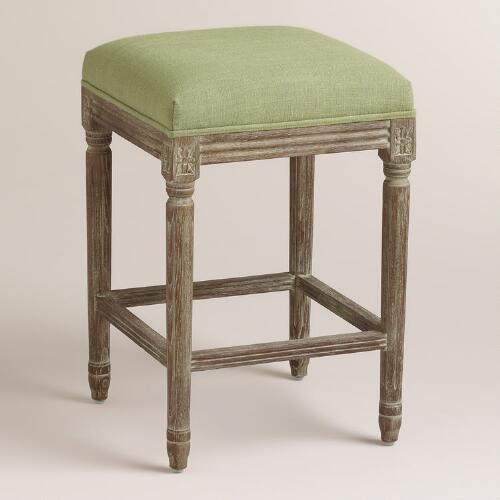 Desert Sage Linen Paige Backless Counter Stool