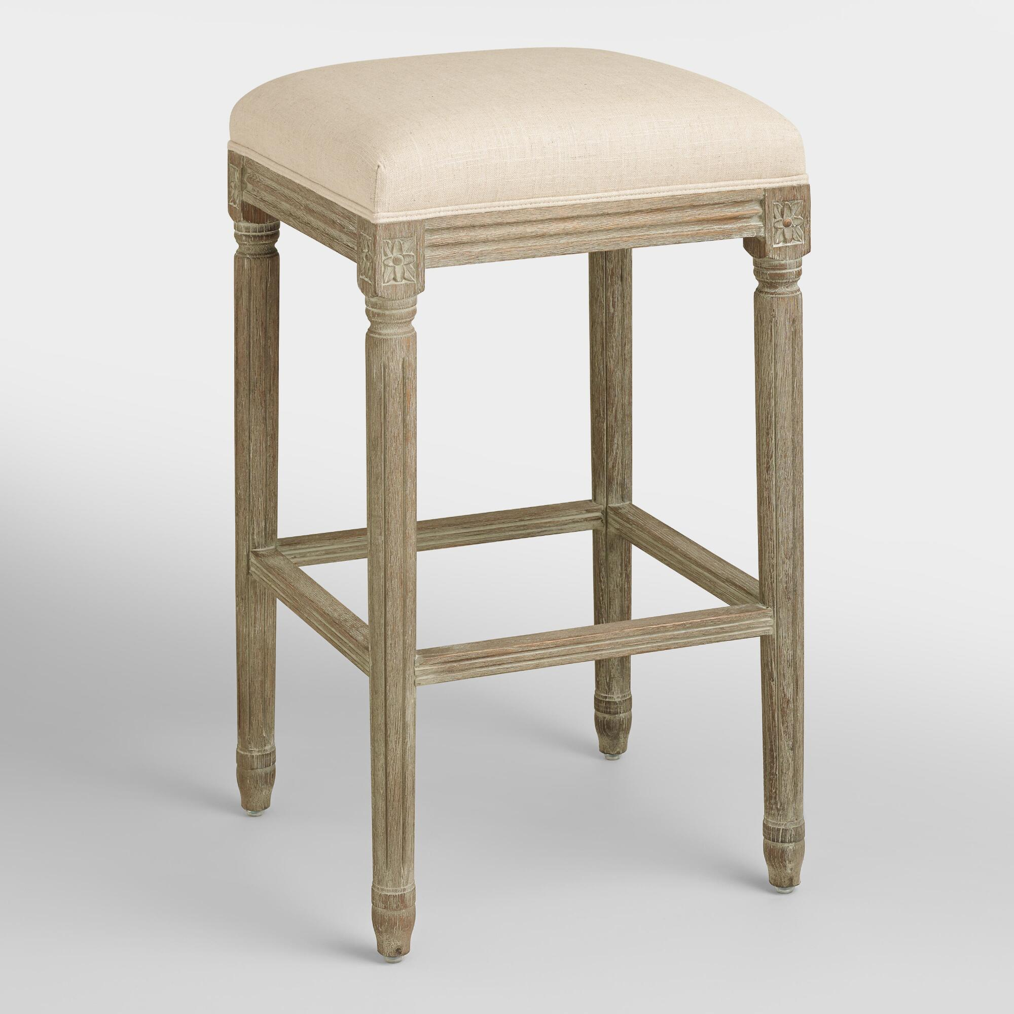Natural Linen Paige Backless Barstool World Market