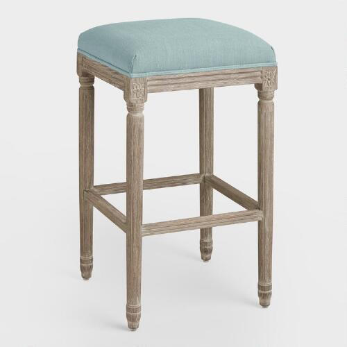 Blue Linen Paige Backless Barstool
