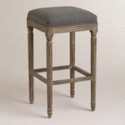 Charcoal Linen Paige Backless Barstool