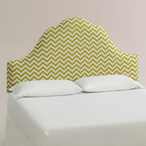 Green Zigzag Elsie Upholstered Headboard