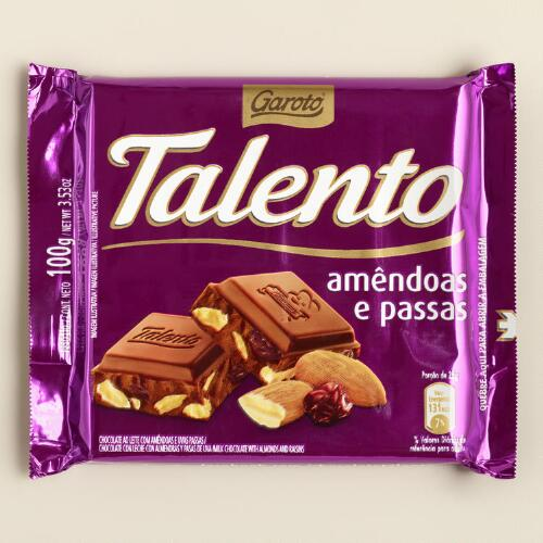 Garoto Talento Chocolate Bar with Almonds and Raisins