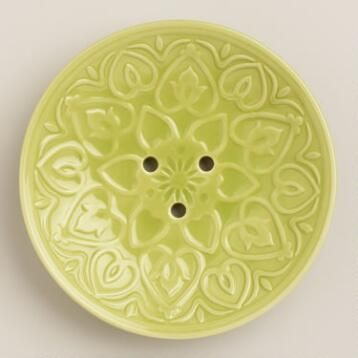 Oasis Green Embossed Ceramic Soap Dish