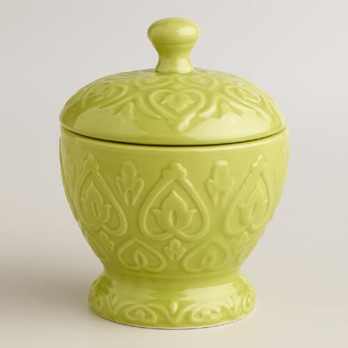 Oasis Green Embossed Ceramic Canister