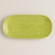 Oasis Green Embossed Ceramic Tray