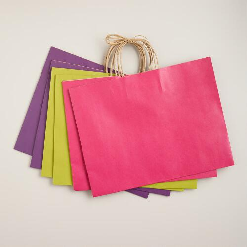 Large Spring Kraft Gift Bags, 6-Pack