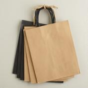 Medium Black and Natural Kraft Gift Bags, 6-Pack