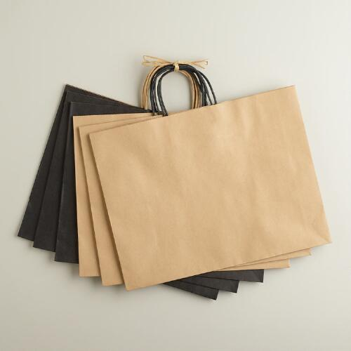 Large Black and Natural Kraft Gift Bags, 6-Pack