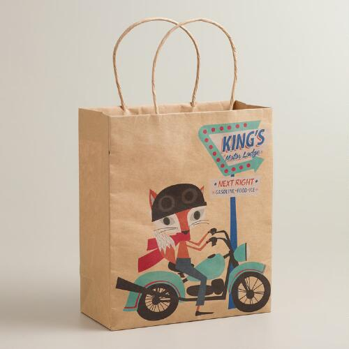Bike Fox & Hare Medium Kraft Gift Bag