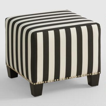Canopy Stripe McKenzie Upholstered Ottoman