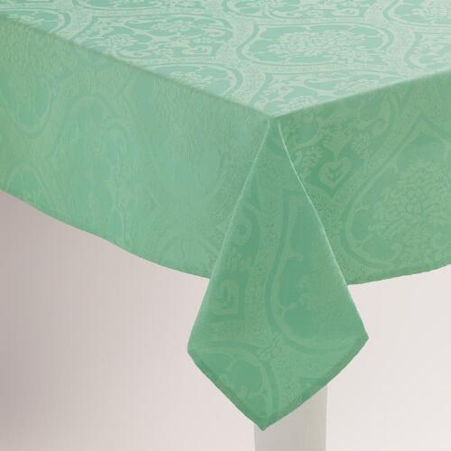 Aqua Damask Ogee Tablecloth