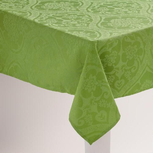 Green Damask Ogee  Tablecloth