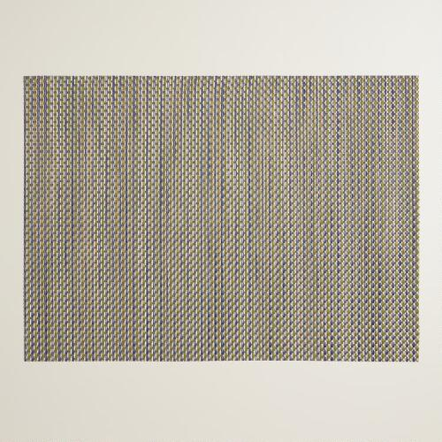 Blue and Gold Central Park Woven Vinyl Placemats, Set of 4