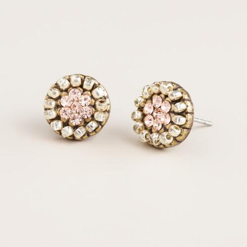 Gold and Silver Round Stud Earrings