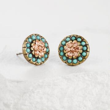 Gold and Mint Round Stud Earrings