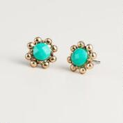 Green and Gold Facet Stud Earrings