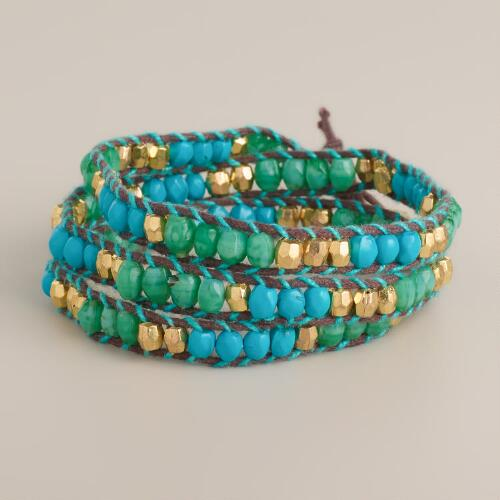 Mint and Blue Tonal Wrap Bracelet