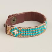 Turquoise and Gold Beaded Snap Bracelet