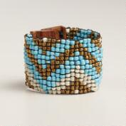 Chevron Bead Wood Clasp Bracelet