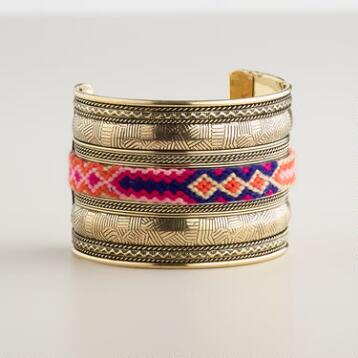 Gold and Pink Tribal Cuff Bracelet