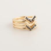 Gold Chevron Rings, Set of 3