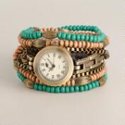 Turquoise Wood Bead Wrap Watch