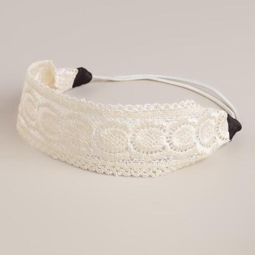 Ivory Crocheted Elastic Headband
