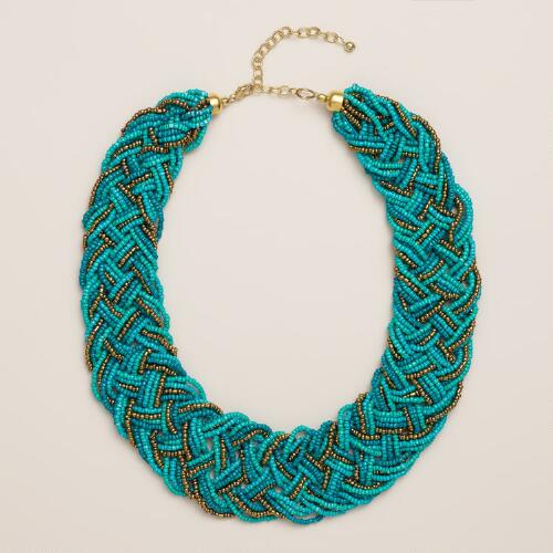 Turquoise and Gold Braided Seed Bead Necklace