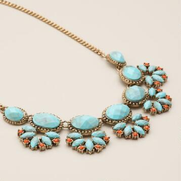 Turquoise and Coral Facet Necklace