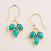 Turquoise 3-Leaf Stone Drop Earrings