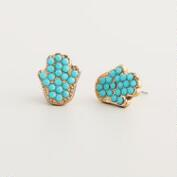 Turquoise Hamsa Stud Earrings