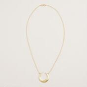 Gold Hammered Crescent Pendant Necklace