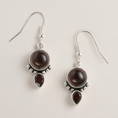 Silver Smoky Topaz Drop Earrings