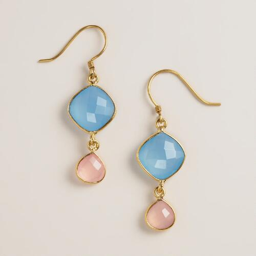 Blue Calcidone and Rose Quartz Double Drop Earrings