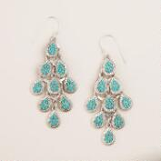 Mint and Silver Tiered Chandelier Earrings