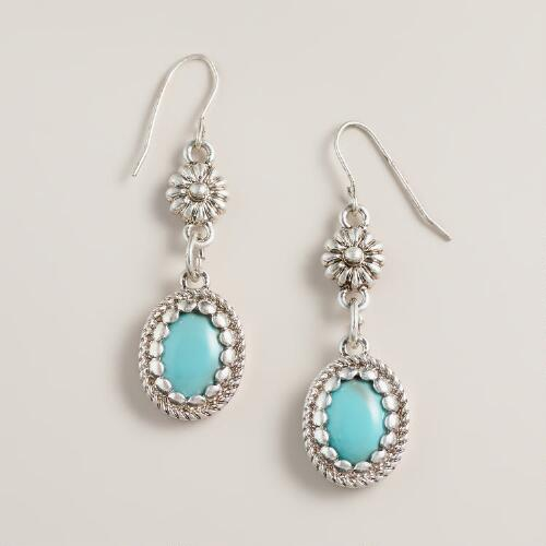Silver and Mint Flower Double Drop Earrings