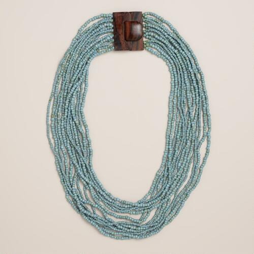 Turquoise Wood Clasp Necklace