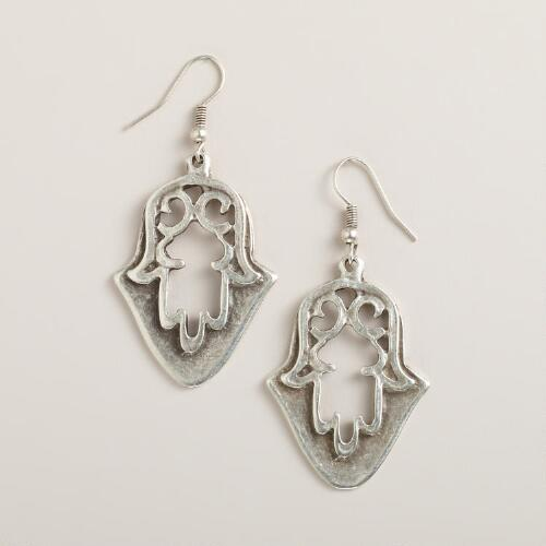Silver Hamsa Drop Earrings