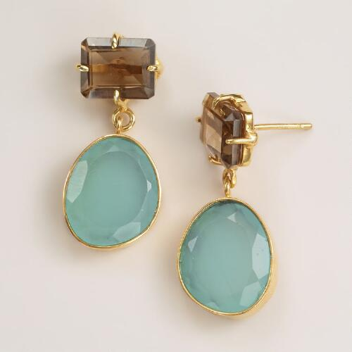 Smoky Topaz and Aqua Drop Earrings