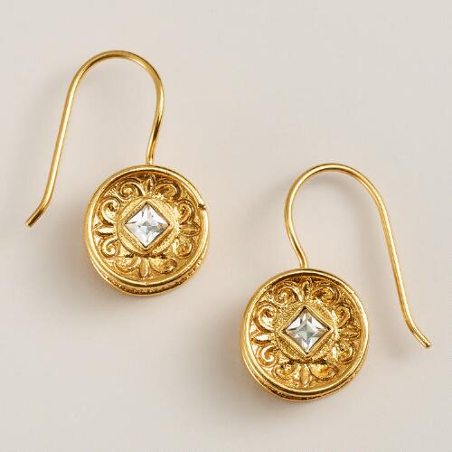 Gold and Clear Round Etched Drop Earrings