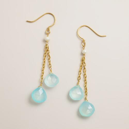Gold, Aqua and Pearl Double Drop Earrings