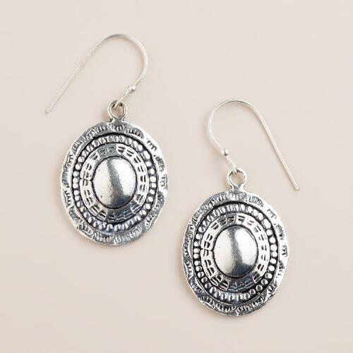 Silver Etched Disc Drop Earrings